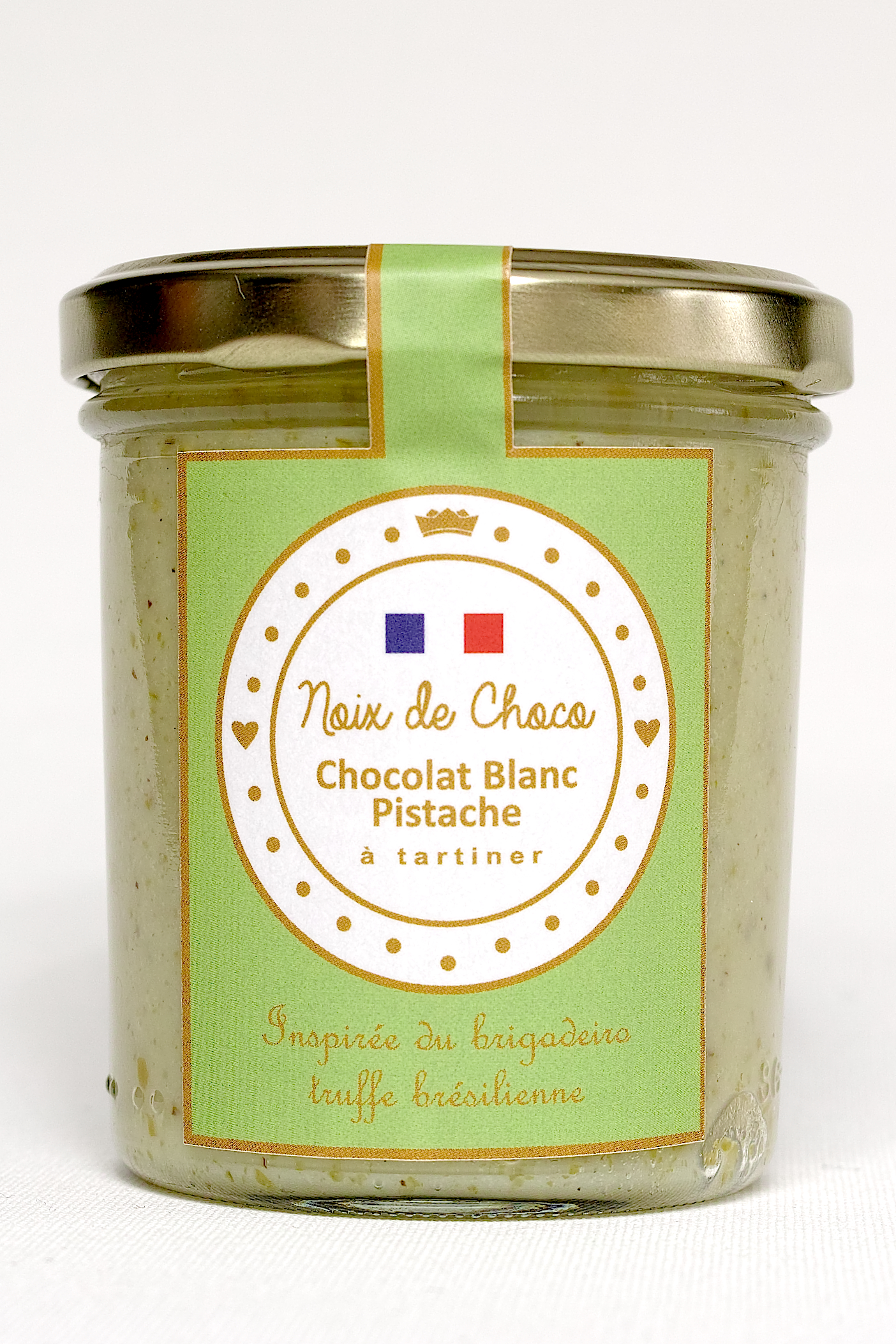 Chocolat blanc pistache à tartiner