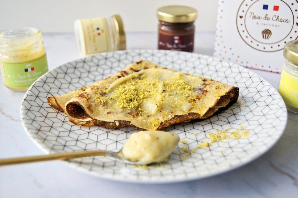 Crêpes à la pâte à tartiner chocolat blanc pistache - Recette Noix de Choco