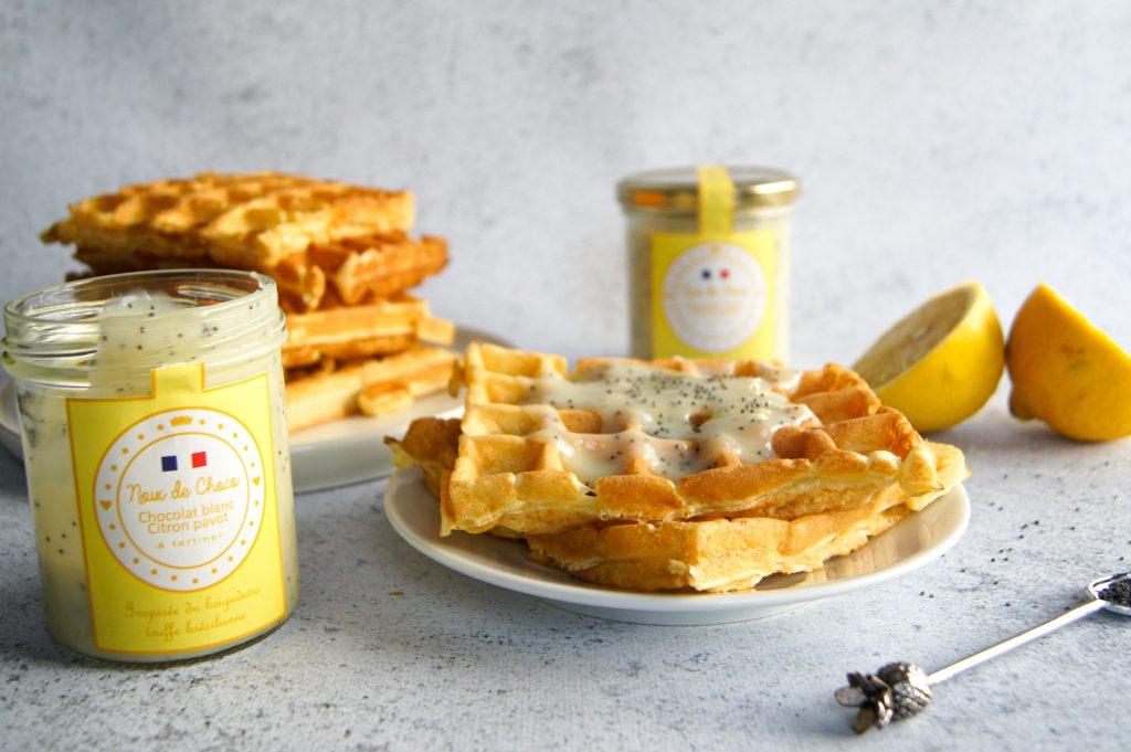 Gaufres à la pâte à tartiner citron pavot - recette Noix de Choco